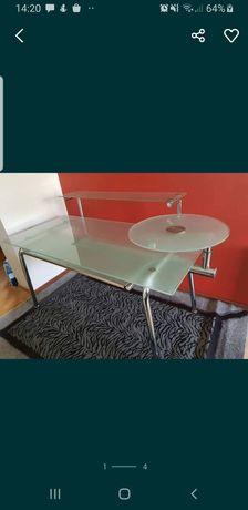 Eleganckie szklane biurko pod komputer do biura/sklepu