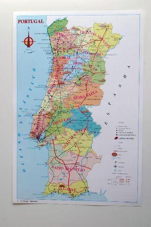 Mapa de Portugal Plastificado anos 80-90