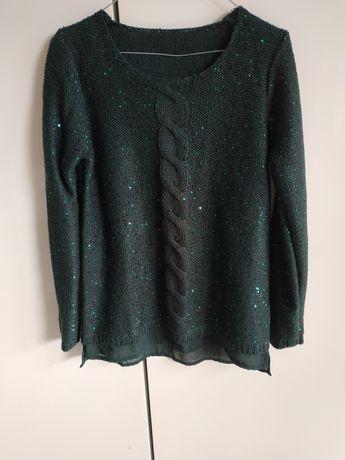 Sweterek z cekinami butelkowa zieleń