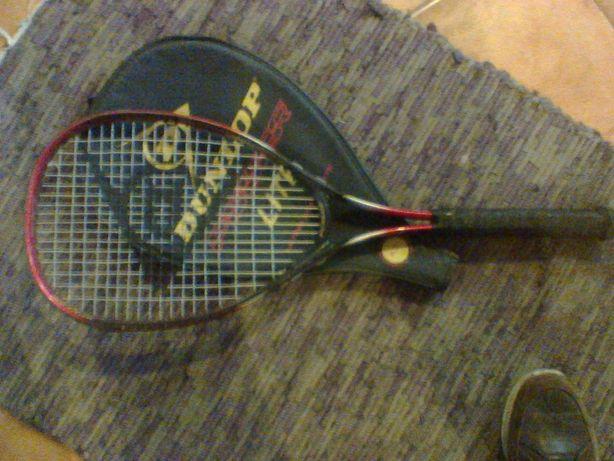 Raquete de ténis Dunlop com estojo (antiga)