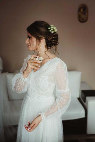 Suknia ślubna boho rustykalna romantyczna Gala Carandra welony gratis