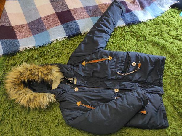 Парка зимняя куртка для мальчика на овчине 134 р-р