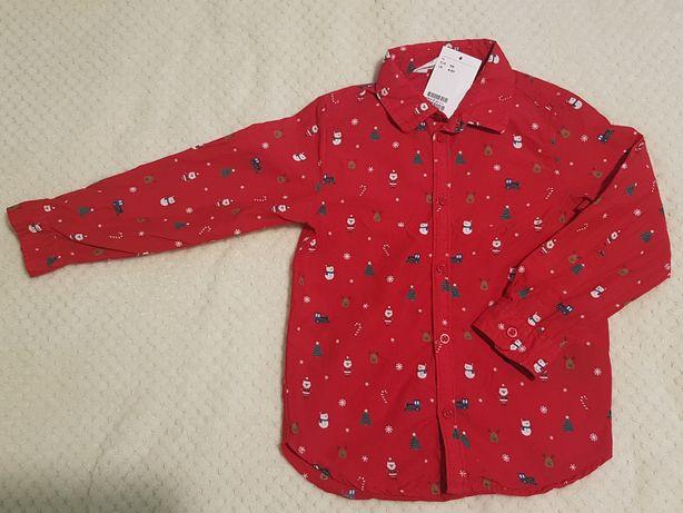 Czerwona koszula świąteczna 110cm H&M