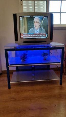 Mesa de vidro para tv com aquario