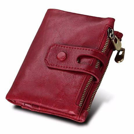 Кожаный кошелек темно- красный