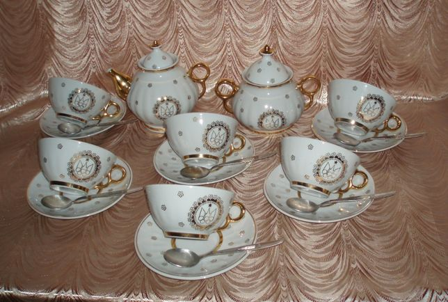 Сервиз Олимпиада 80 20 предметов фарфор ложка чашка блюдце чайник