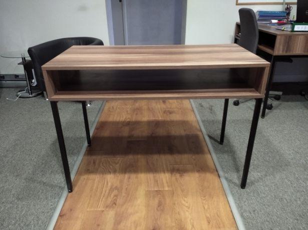 Biurko komputerowe z półką, jasny orzech, designerskie biurko loftowe