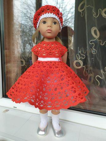 Одяг для лялечки 48-50 см. Червона сукня та беретик для лялечки Готц