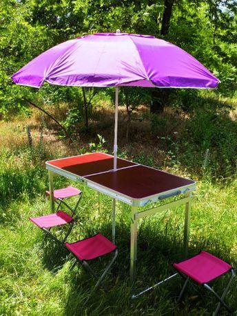 Усиленный стол (квадратные ножки) 60*120 см + 4 стула с зонтом