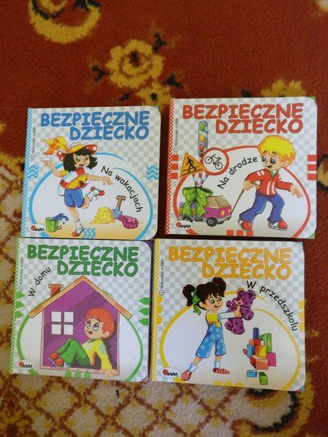 zestaw książeczek bezpieczne dziecko w domu, na wakacjach, na drodze