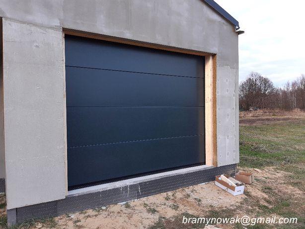 Brama garażowa 2500x2250 kolor ANTRACYT RAL 7016 z napędem HATO