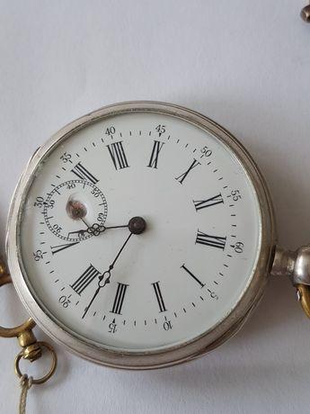 Srebrny zegarek męski kieszonkowy na kluczyk