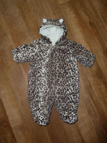 Теплый леопардовый комбинезон Mothercare 0-3 мес утепленный, подкладк