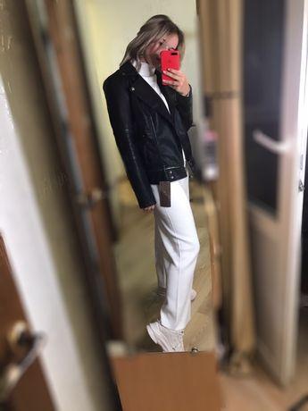 Кожанка новая черная косуха пальто куртка с фурнитурой