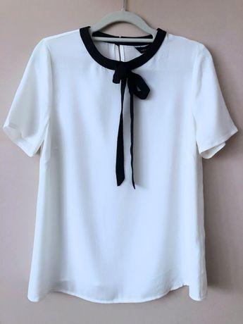 Biała damska bluzka z czarną kokardą elegancka 36 S NOWA