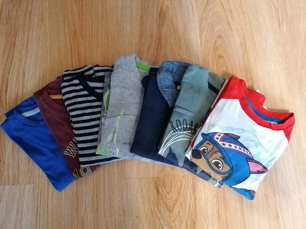 Zestaw 7 koszulek, bluzek 98/104 dla chłopca, długi rękaw