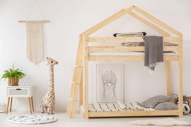 Łóżko Dziecięcę Domek piętrowe drewniane