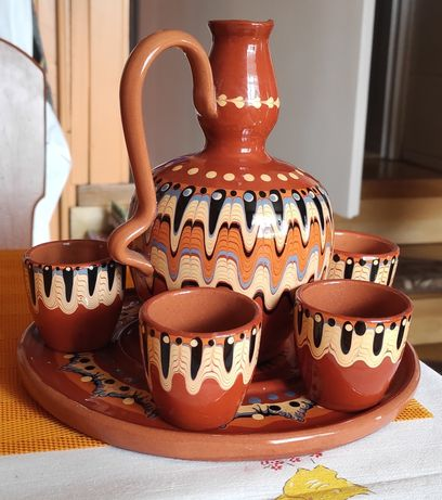 Zestaw, komplet do picia miodu PRL stary porcelana
