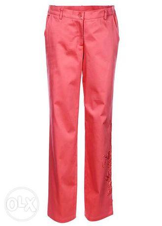 BPC eleganckie koralowe spodnie bawełna satynowa 40 NOWE