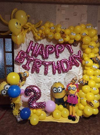 """Фотозона. Декор. День рождения в стине """"Миньоны"""" на 1 или 2 года."""