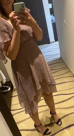 Zwiewna sukienka koktailowa brudny róż r M 38