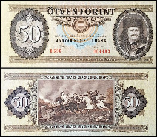 Banknot Węgry 50 forintów 1986 UNC