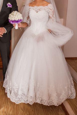 Suknia ślubna Princessa_LA MARIETTE+koronkowe bolerko i welon, r.34/36