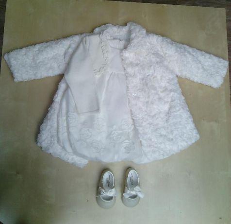 Komplet mayoral, sukienka, płaszczyk, buciki, rozmiar 80