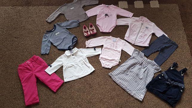 Zestaw cudnych ubrań COOCODRILLO 68 różowe szare spodnie sukienki body
