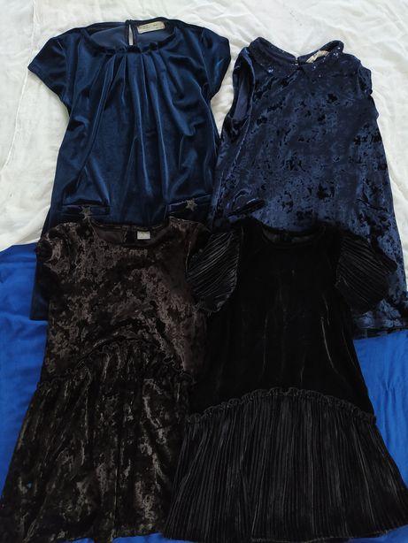 черное синие бархатное школьное платье плаття next 6-8 для двойни