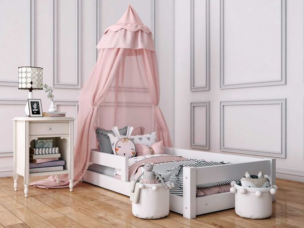 Łóżeczko dziecięce z barierkami, białe Łóżko drewniane 90x200 niskie