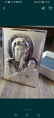 Ikona srebrna chrzest komunia ślub prezent