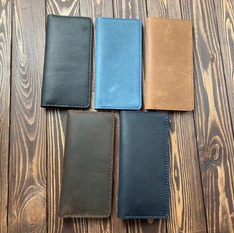 Кожаный мужской кошелек портмоне ручной работы + именная гравировка в