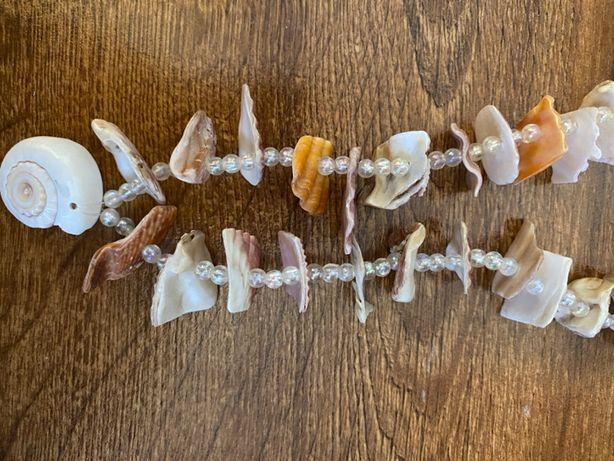 Korale naszyjnik z muszelek beżowy pomarańczowy