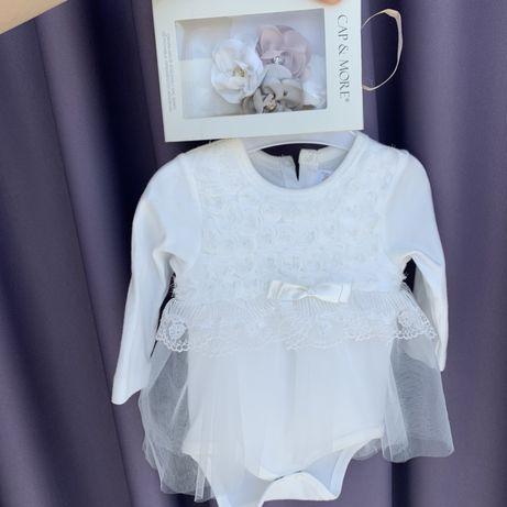 Платье бодик с повязкой Набор для крещения