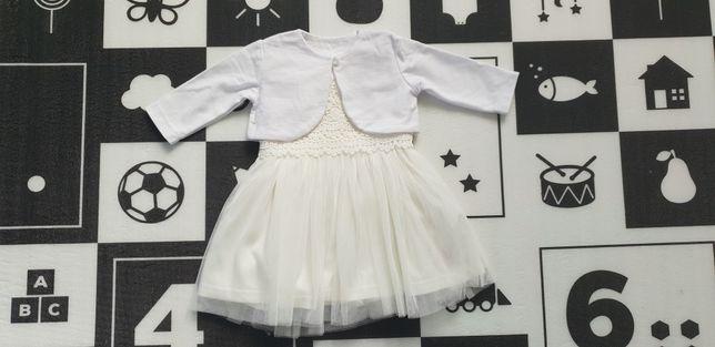 Komplet, ubranko do chrztu dla dziewczynki, sukienka, 6-9 mcy, 68/74
