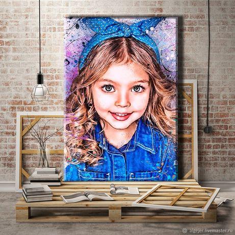 Детский портрет по фото на холсте