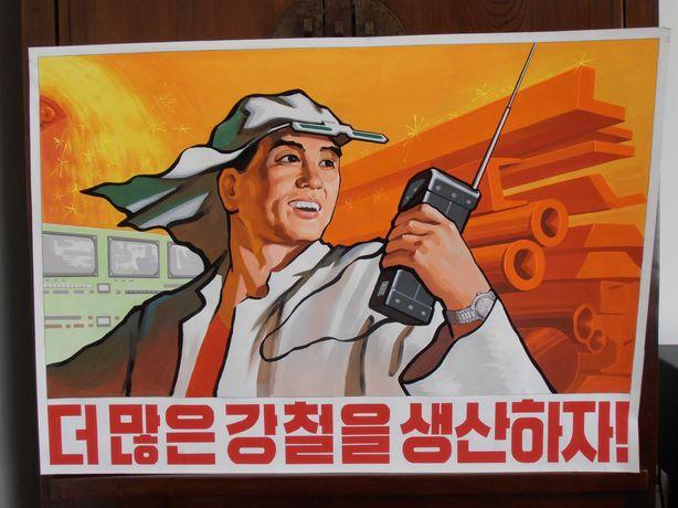 COREIA do NORTE – Poster Propaganda – Pintado à Mão - RARO