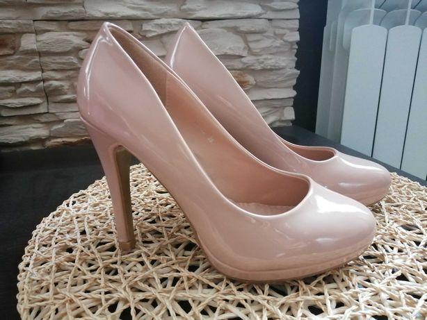 Buty Szpilki lakierowane pudrowy róż rozm. 36 Jak Nowe