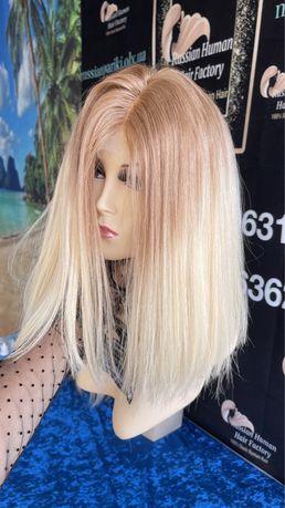 Натуральный парик имитация кожи славянские детские волосы блонд 35 см!