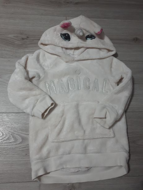 Biała bluza z kapturem ciepła 92