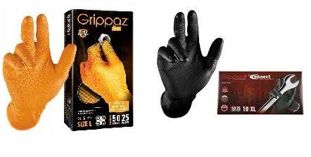 Rękawiczki Nitrylowe Grube Grippaz 50szt Czarne Pomarańczowe FV 23%