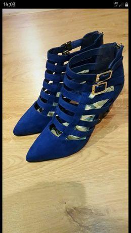 Kobaltowe buciki/niepowtarzalne/piękne