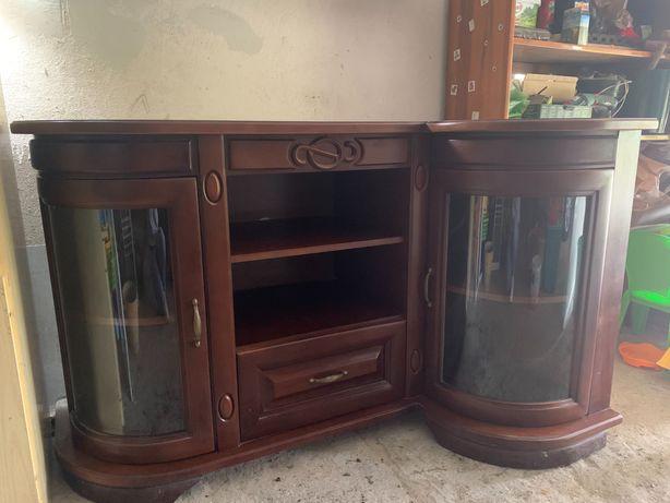 Komoda narożna, drewniana ze szklanymi drzwiami