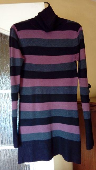 Tuniko-sweter (golf) w paski M/L