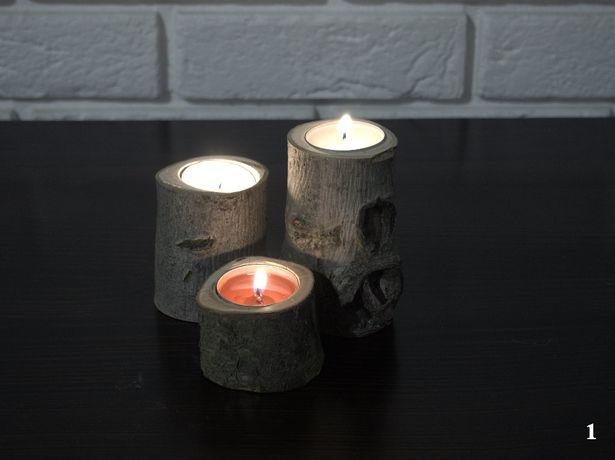 Świecznik drewniany orzech rękodzieło decoupage stroik święta tealight