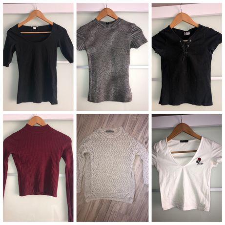 Koszulki jeansy spodnie bluzki topy bershka sinsay zara h&m cropp XS S