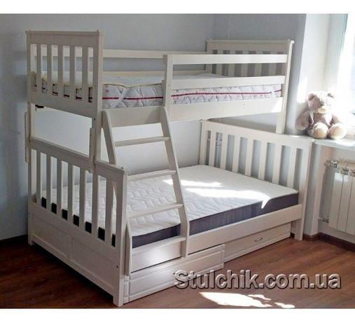 Сімейне біле ліжко Лозанна з ящиками та матрацами в наявності!!