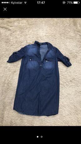 Джинсовое платье-рубашка S-M