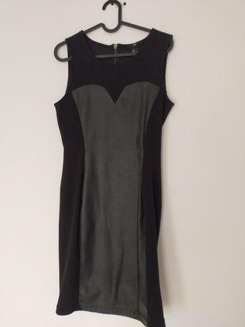 Czarna sukienka z łączonych materiałów H&M 36 / S